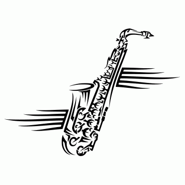 Tattoo design: Saxophone 2